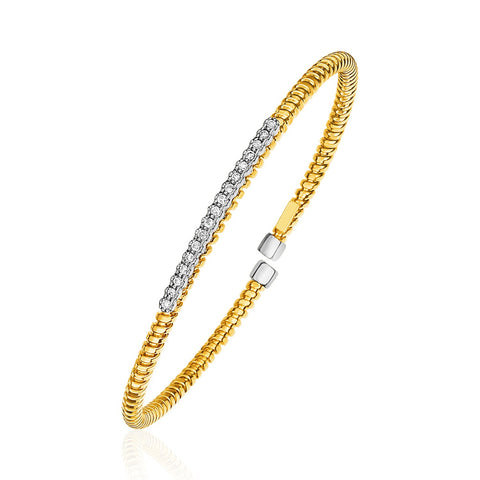 Unique Luxury French Style 14K Yellow Gold and Diamond 3mm Flexible Bangle Bracelet