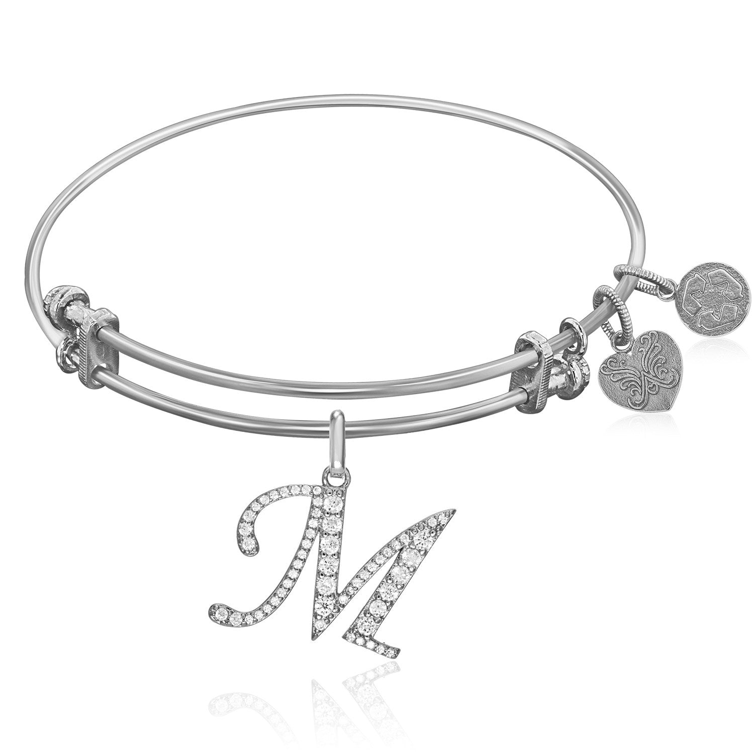 Expandable White Tone Brass Bangle with M Symbol with Cubic Zirconia