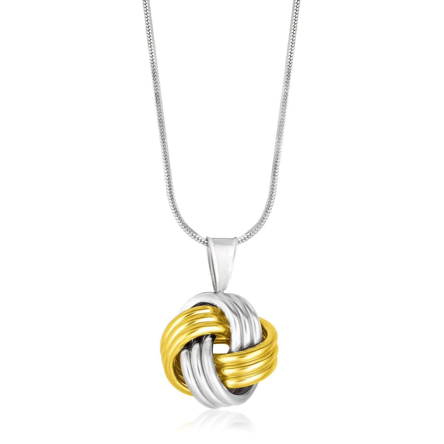 Distinctive Luxury London Style 14K Yellow Gold & Sterling Silver Pendant in a Ridge Texture Love Knot Style