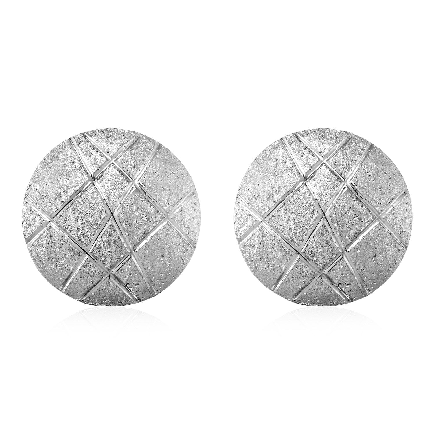 Original New York Style  Textured Round Disc Earrings in Sterling Silver