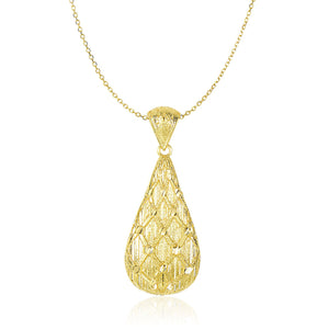 14K Yellow Gold Teardrop Pendant with Sanded Textured Diamond Pattern