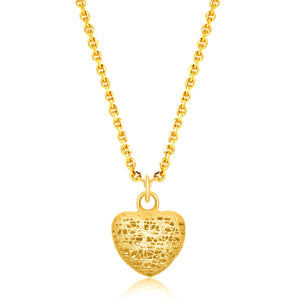 14K Yellow Gold Lace Design Puffed Heart Pendant