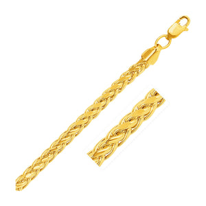 5.2mm 14K Yellow Gold Diamond Cut Round Franco Bracelet