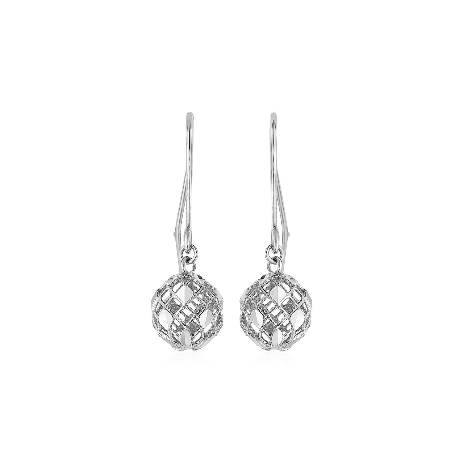 Earrings with Geometric Pierced Drops in 10K White Gold