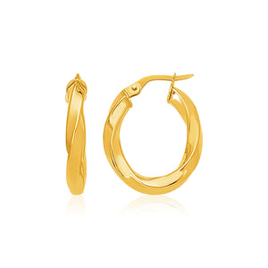 14K Yellow Gold Italian Twist Hoop Earrings
