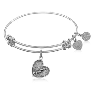 Expandable Bangle in White Tone Brass with Daughter Special Love Symbol