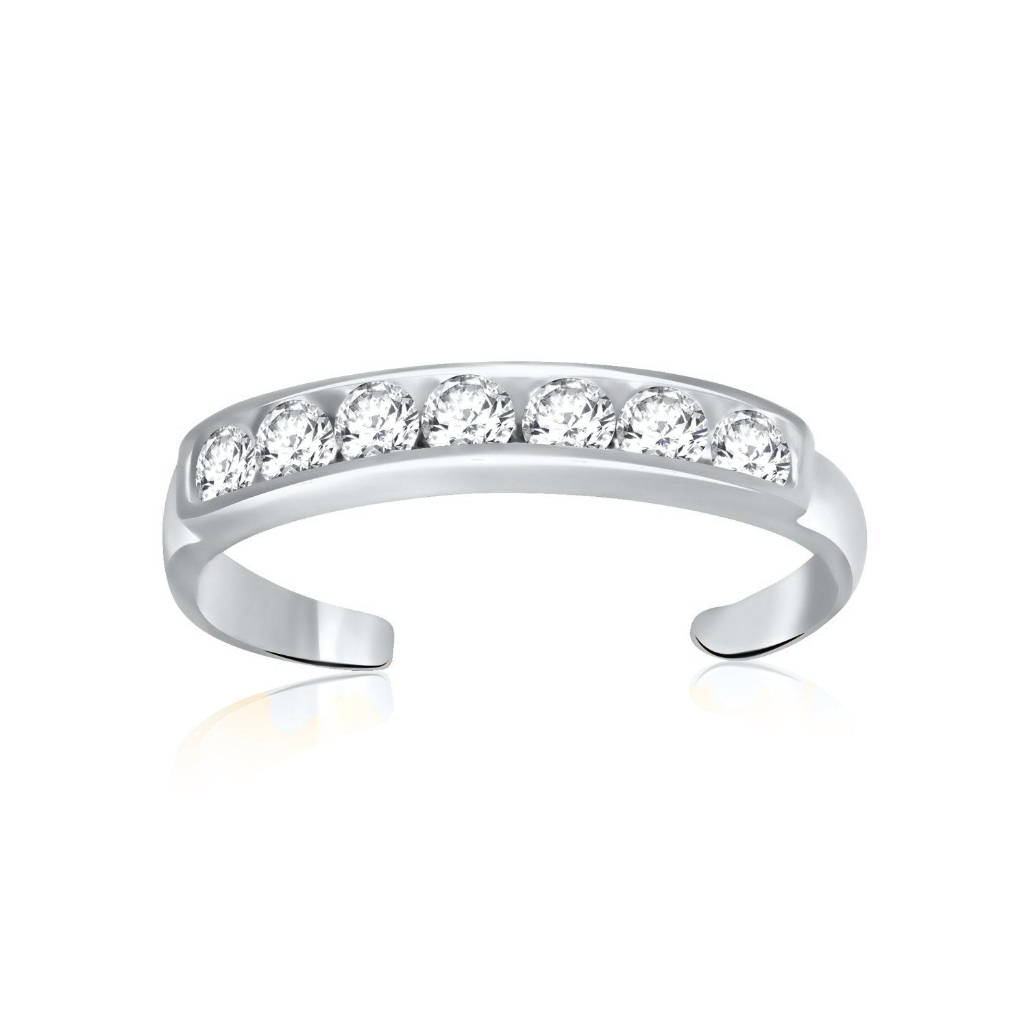 14K White Gold Pave Set Cubic Zirconia Toe Ring - Uniquepedia.com