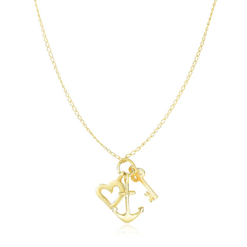Unique Hollywood Style 14K Yellow Gold Anchor  Heart  and Skeleton Key Cluster Charm Necklace