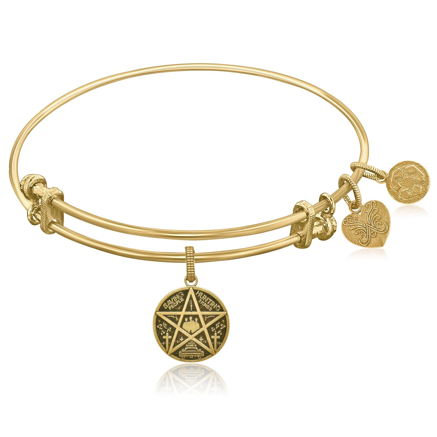 Expandable Yellow Tone Brass Bangle with Supernatural Saving People  Hunting Things Symbol