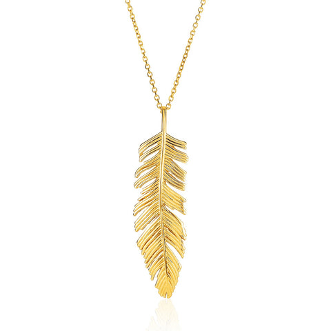 14K Yellow Gold with Textured Feather Pendant