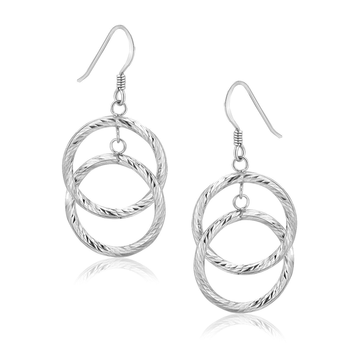 Sterling Silver Open Circle Dual Style Textured Drop Earrings