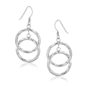 Original New York Style  Sterling Silver Open Circle Dual Style Textured Drop Earrings