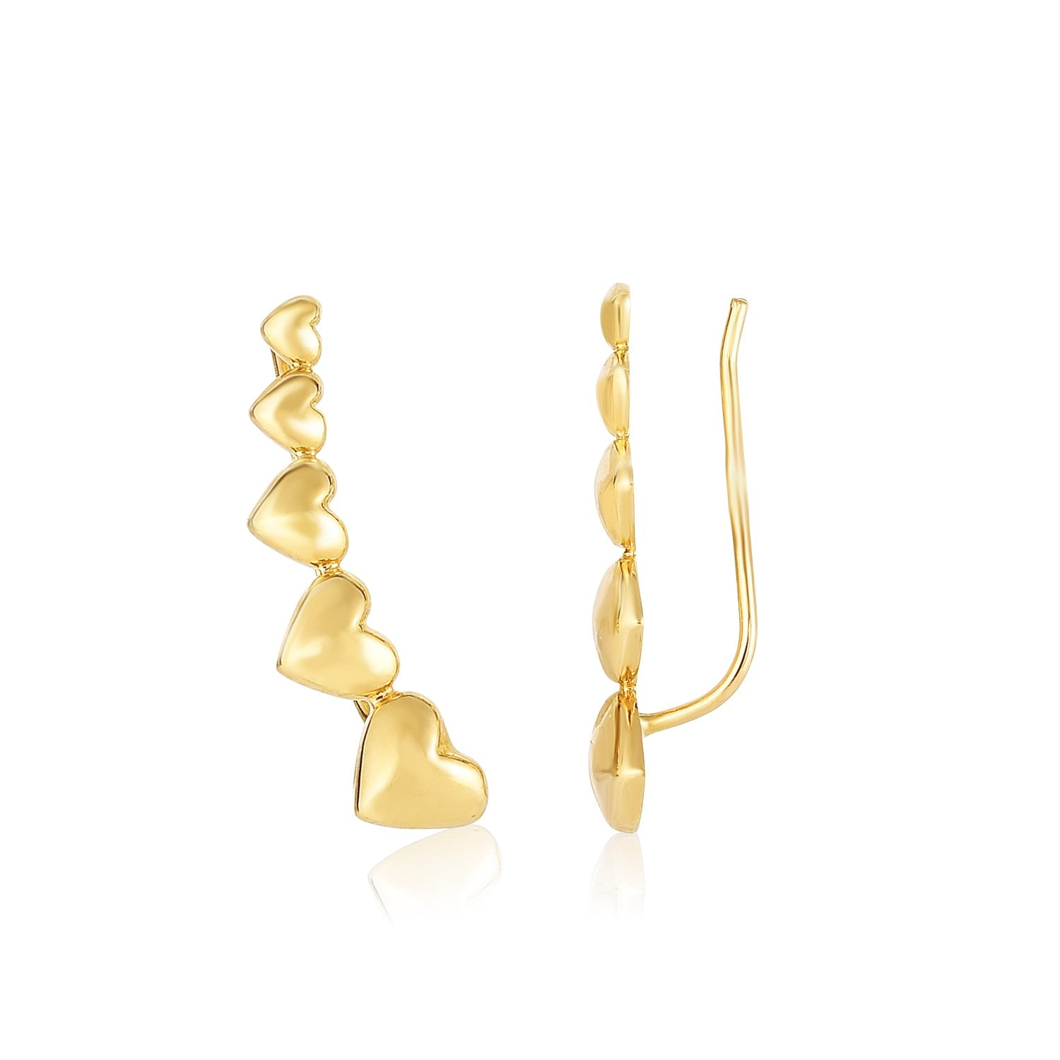 14K Yellow Gold Graduated Heart Climber Style Stud Earrings