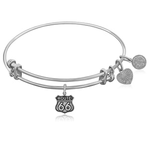 Expandable White Tone Brass Bangle with Route 66 Symbol