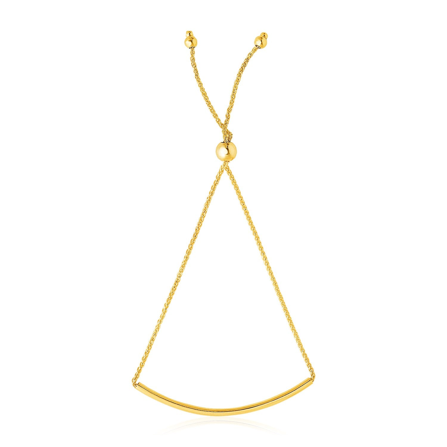 14K Yellow Gold Smooth Curved Bar Lariat Design Bracelet