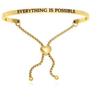 Yellow Stainless Steel Everything Is Possible Adjustable Bracelet