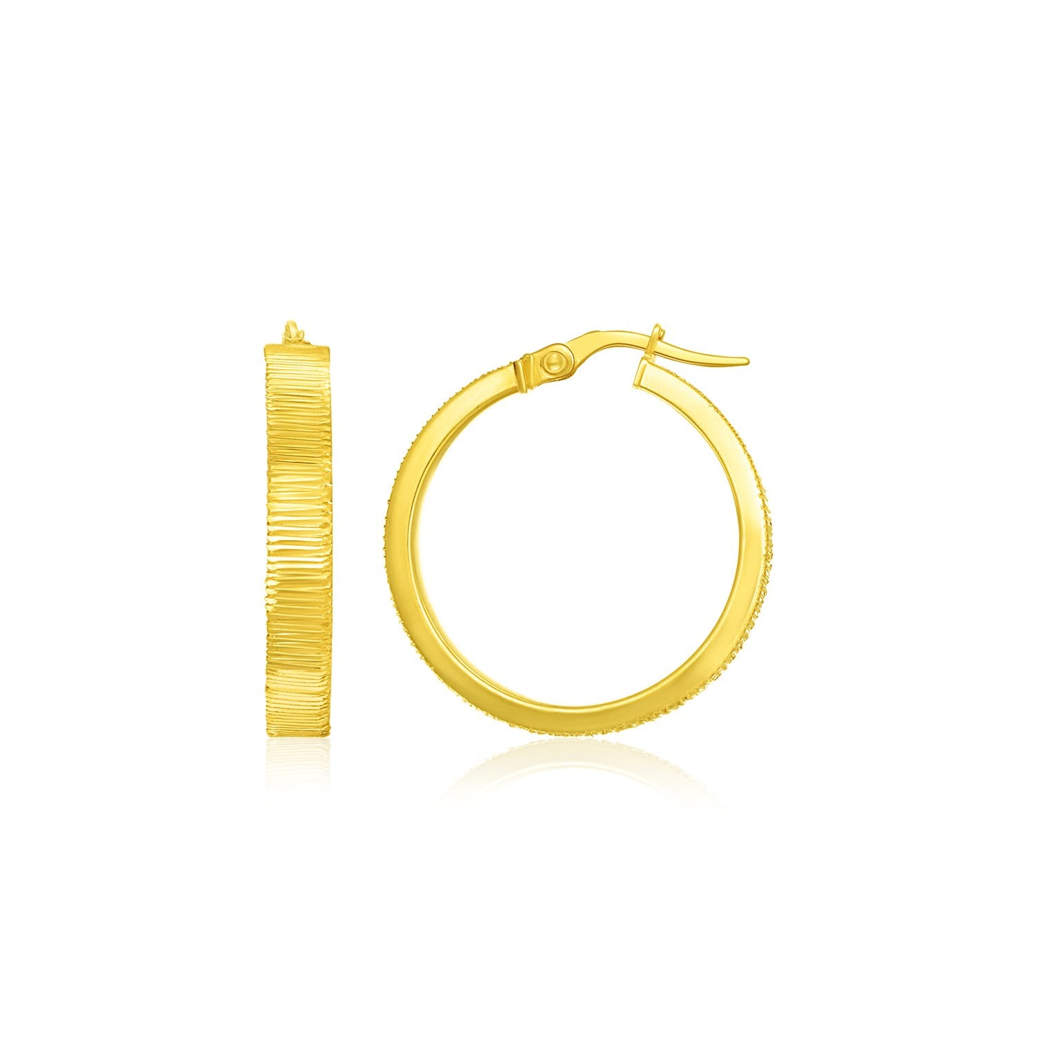 14K Yellow Gold Hoop Earrings with Textured Style