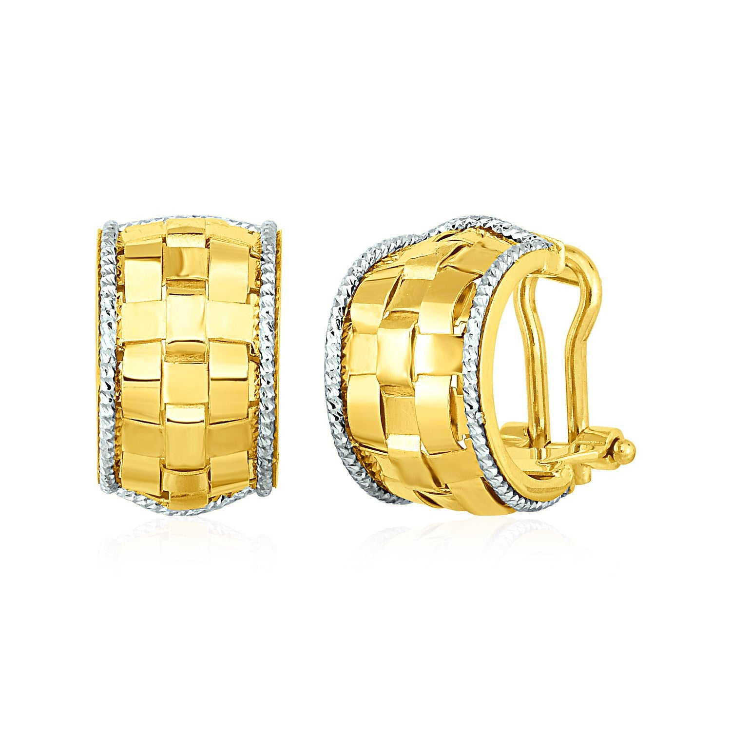 Wide Hoop Earrings with Basket Weave Texture in 14K Yellow and White Gold