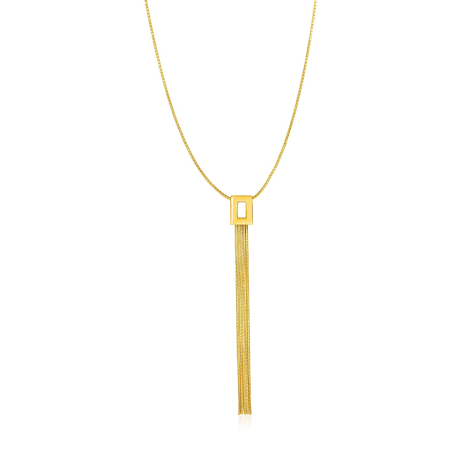 14K Yellow Gold Lariat Style Necklace