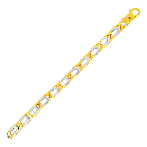 Luxury Italian Style Mens Oval Link Bracelet with Details in 14K Two Tone Gold