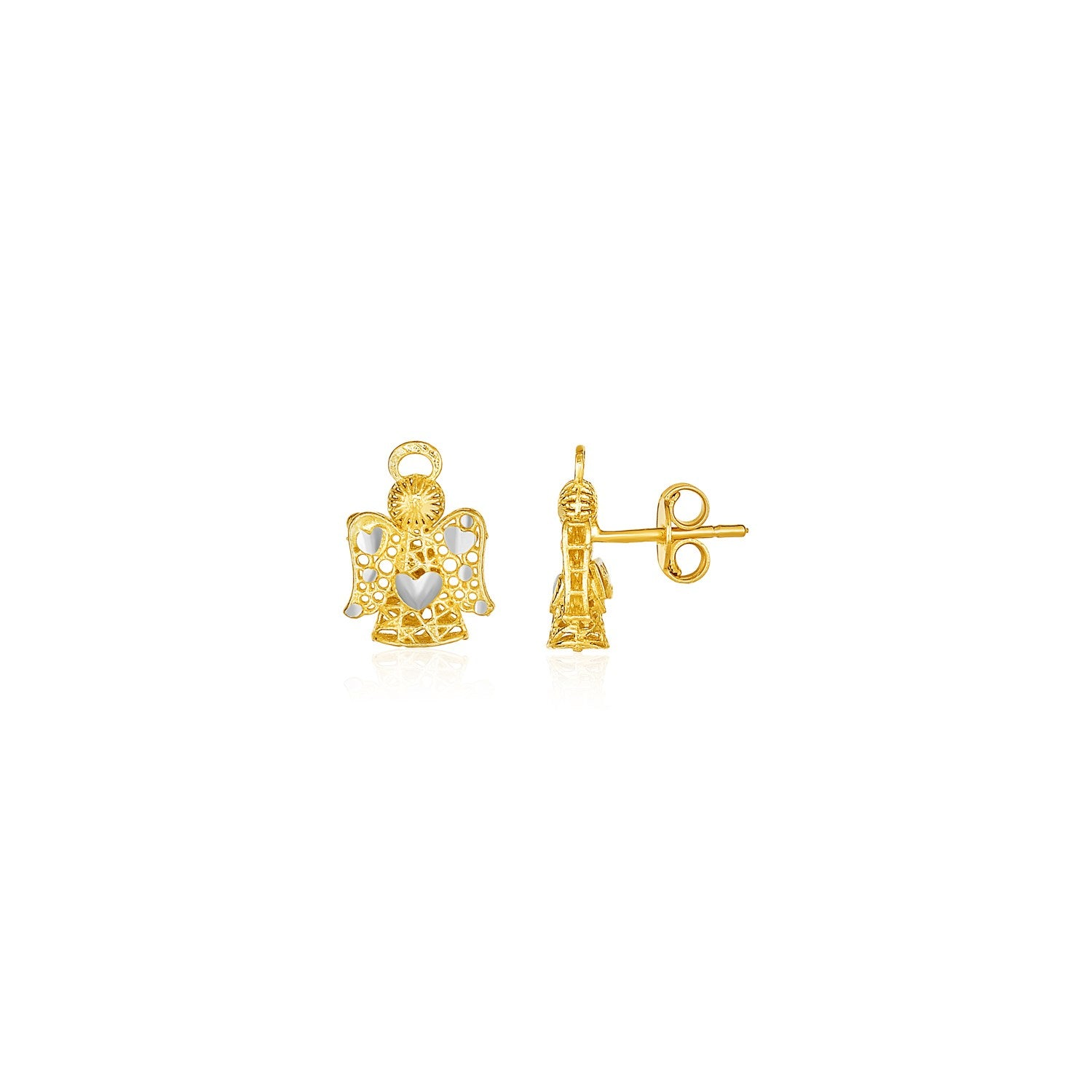 Original New York Style  Filigree Style Angel Post Earrings in 14K Yellow Gold