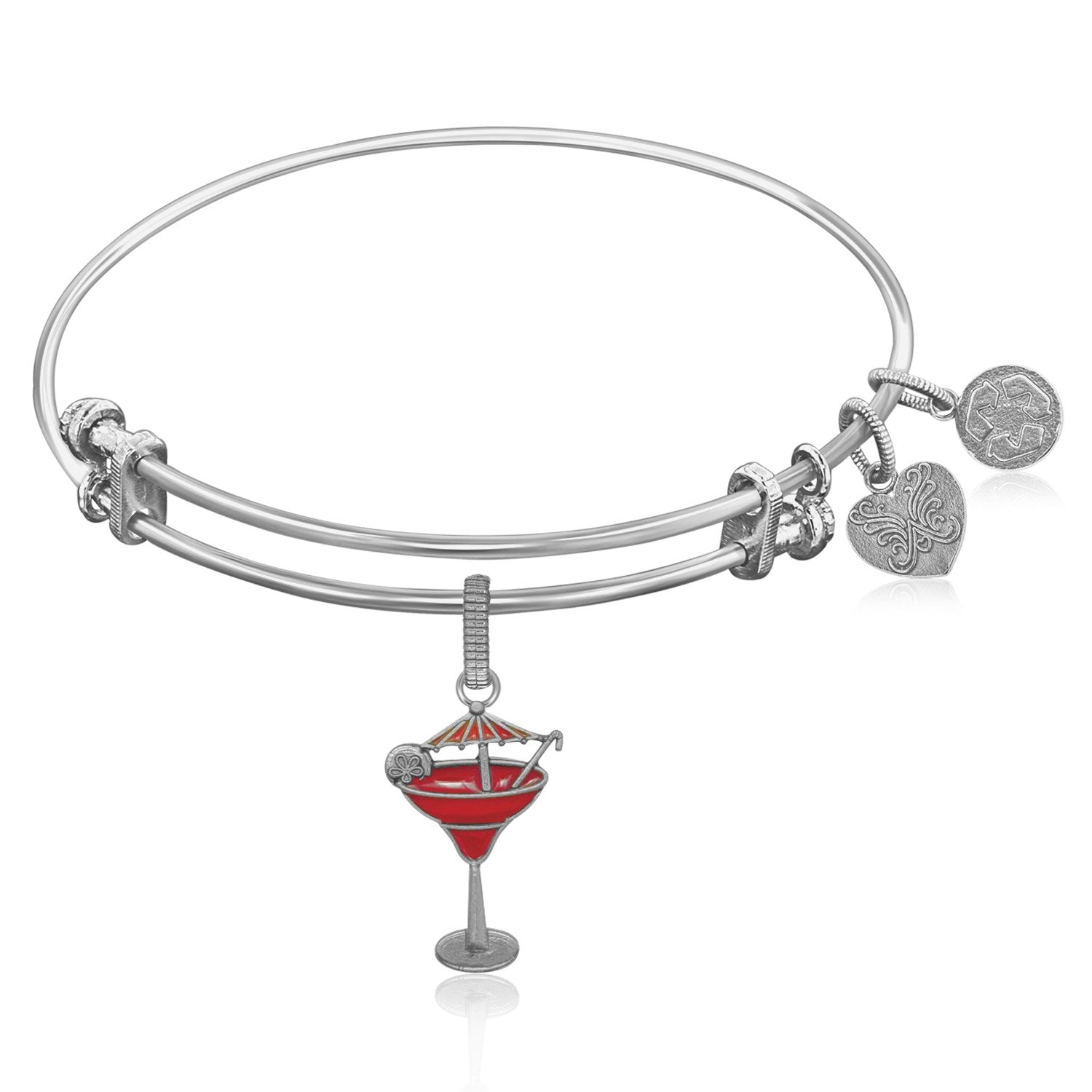 Expandable Bangle in White Tone Brass with Enamel Umbrella Drink Charm Symbol