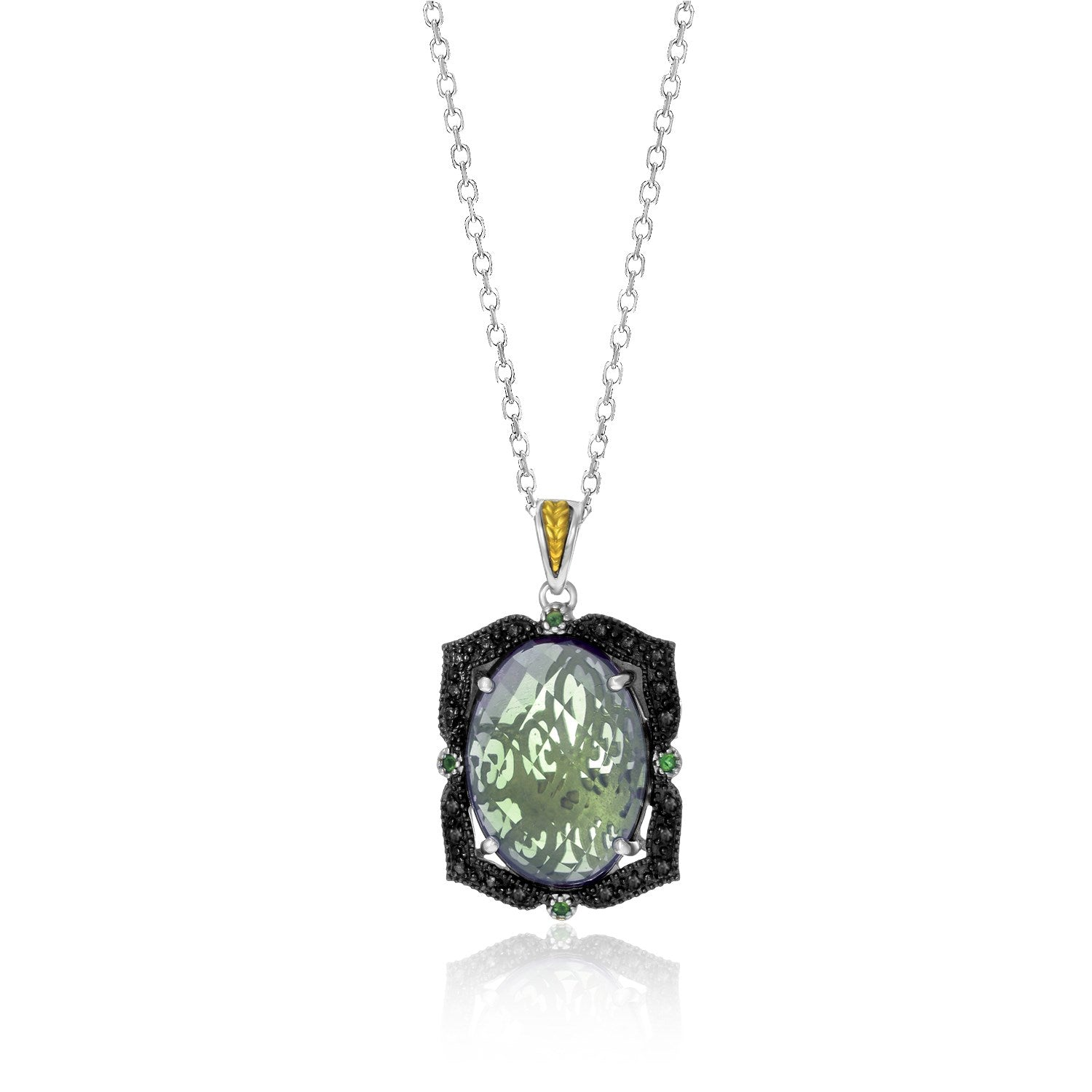 18K Yellow Gold & Sterling Silver Oval Amethyst  Tsavorite  & Diamond Pendant