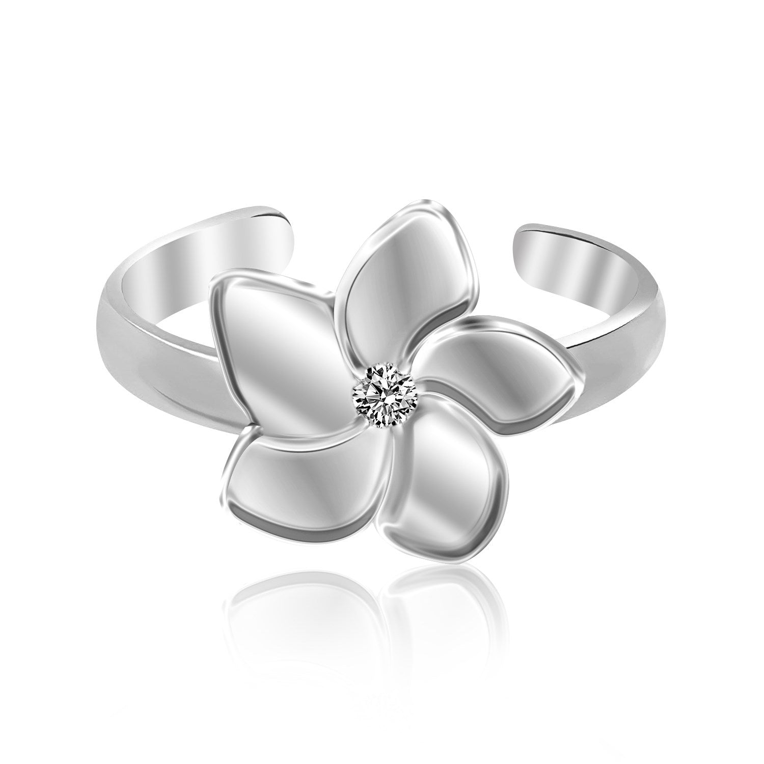 Sterling Silver Rhodium Plated White Cubic Zirconia Floral Toe Ring - Uniquepedia.com