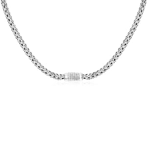 Unique Hollywood Style Sterling Silver Woven Necklace with White Sapphire Accents