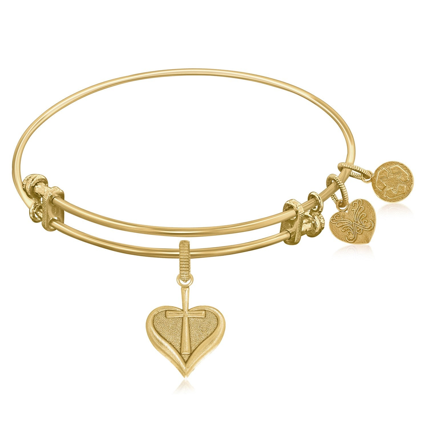 Expandable Bangle in Yellow Tone Brass with Heart With Cross Symbol