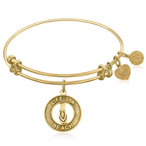 Expandable Bangle in Yellow Tone Brass with Life's A Beach Symbol