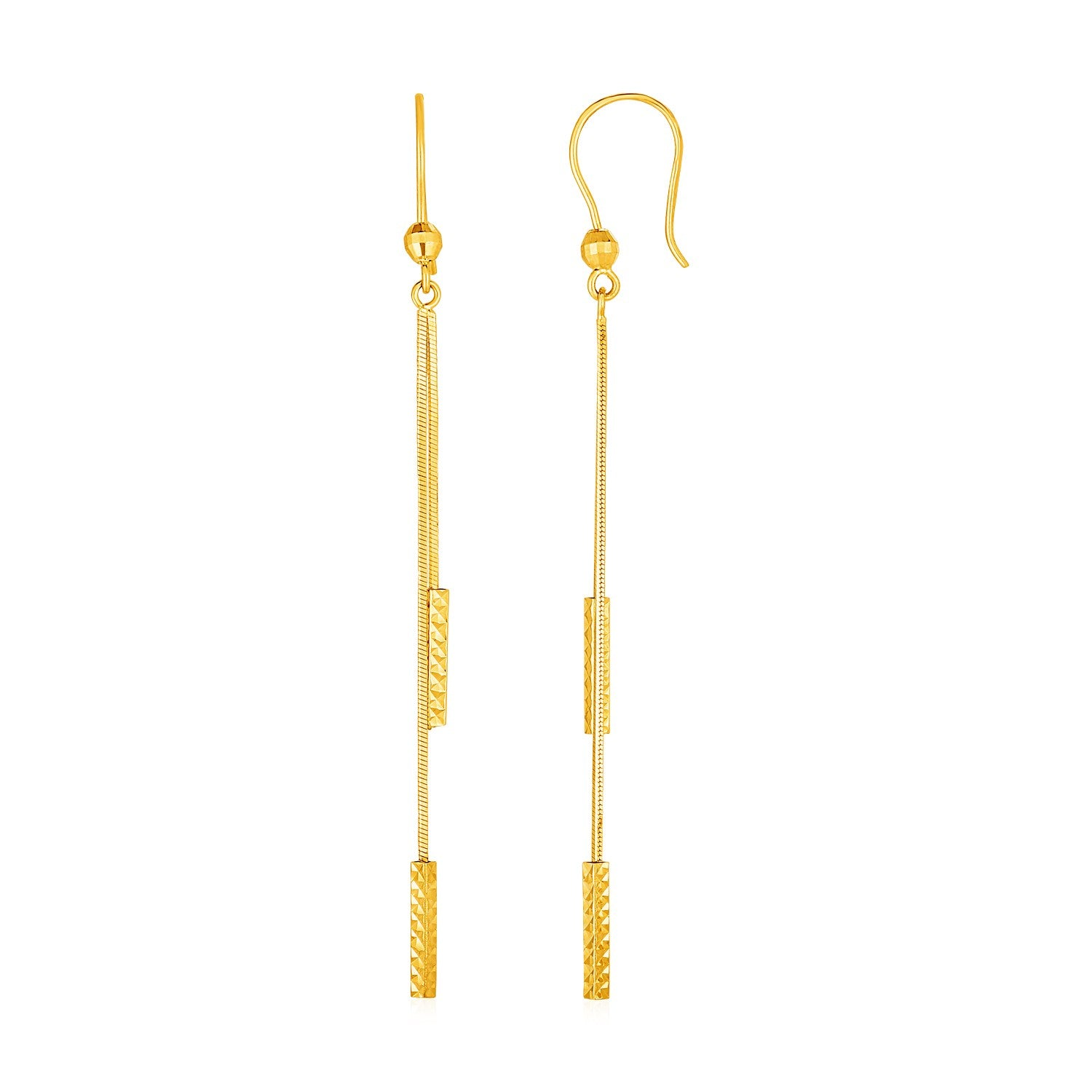 Textured Bar Long Drop Earrings in 14K Yellow Gold