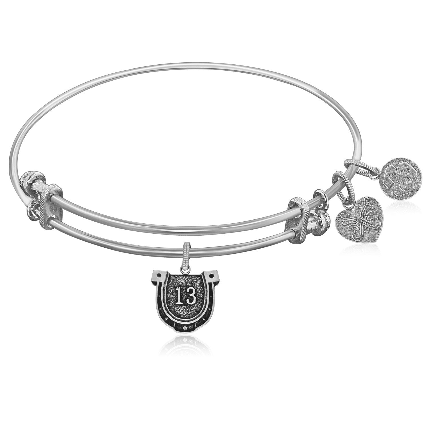 Expandable White Tone Brass Bangle with Lucky 13 Symbol