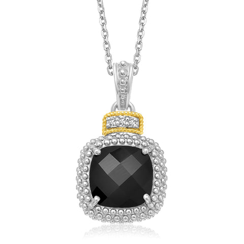 Distinctive Luxury London Style 18K Yellow Gold & Sterling Silver Popcorn Cushion Black Onyx and Diamond Pendant