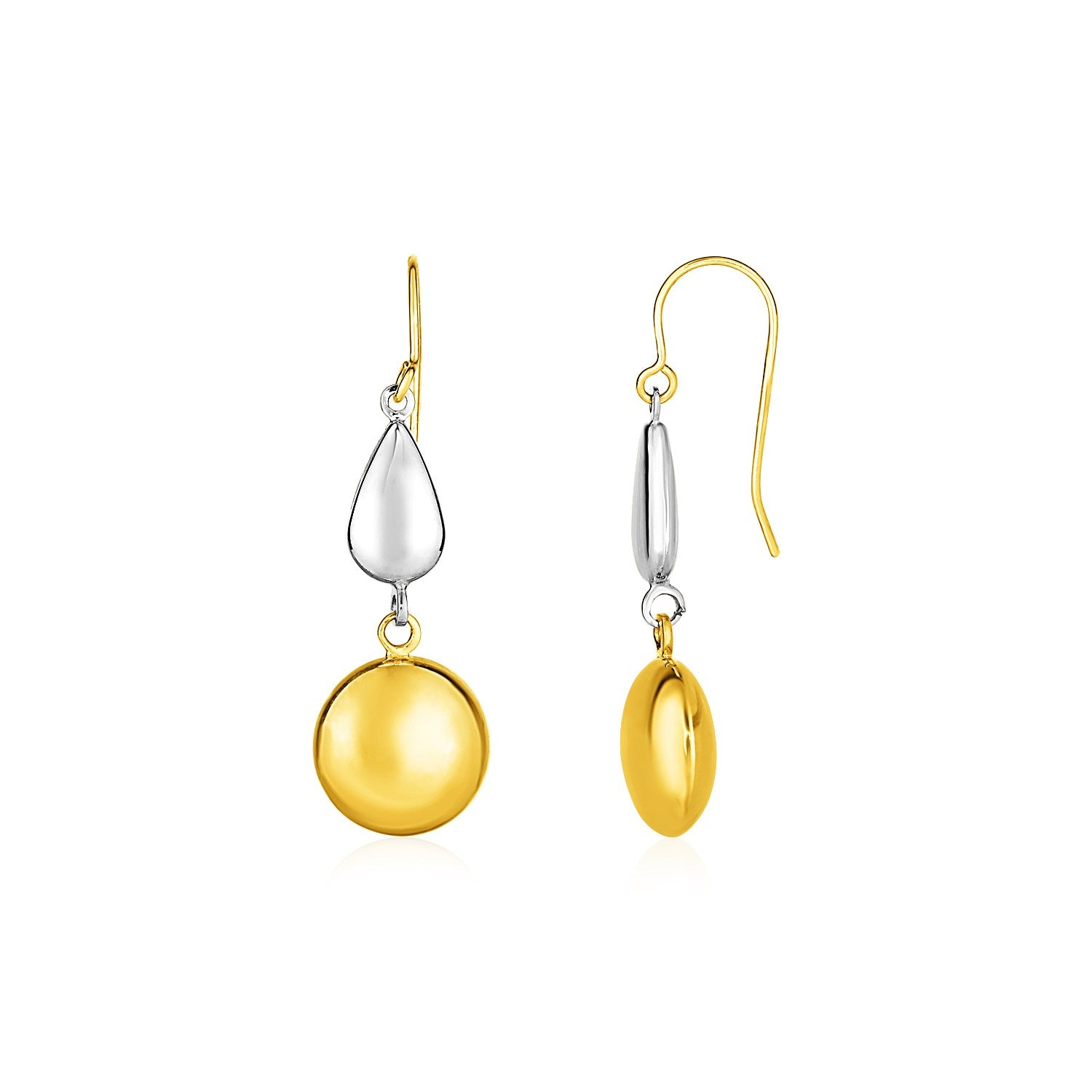 Two-Tone Puffed Teardrop and Round Drop Earrings in 10K Yellow and White Gold