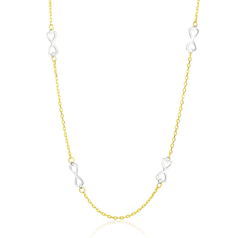 14K Two-Tone Gold Necklace with Heart Design Infinity Stations