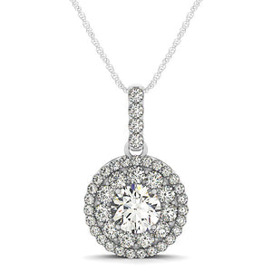 Unique Modern Monaco Style 14K White Gold Diamond Halo Round Shape Pendant (1 1/4 ct. tw.)