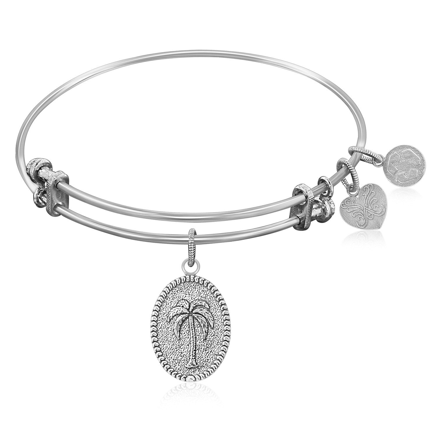 Expandable Bangle in White Tone Brass with Palm Tree Resolve Conflict Symbol