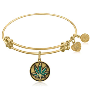 Expandable Yellow Tone Brass Bangle with Cannabis Enamel Symbol