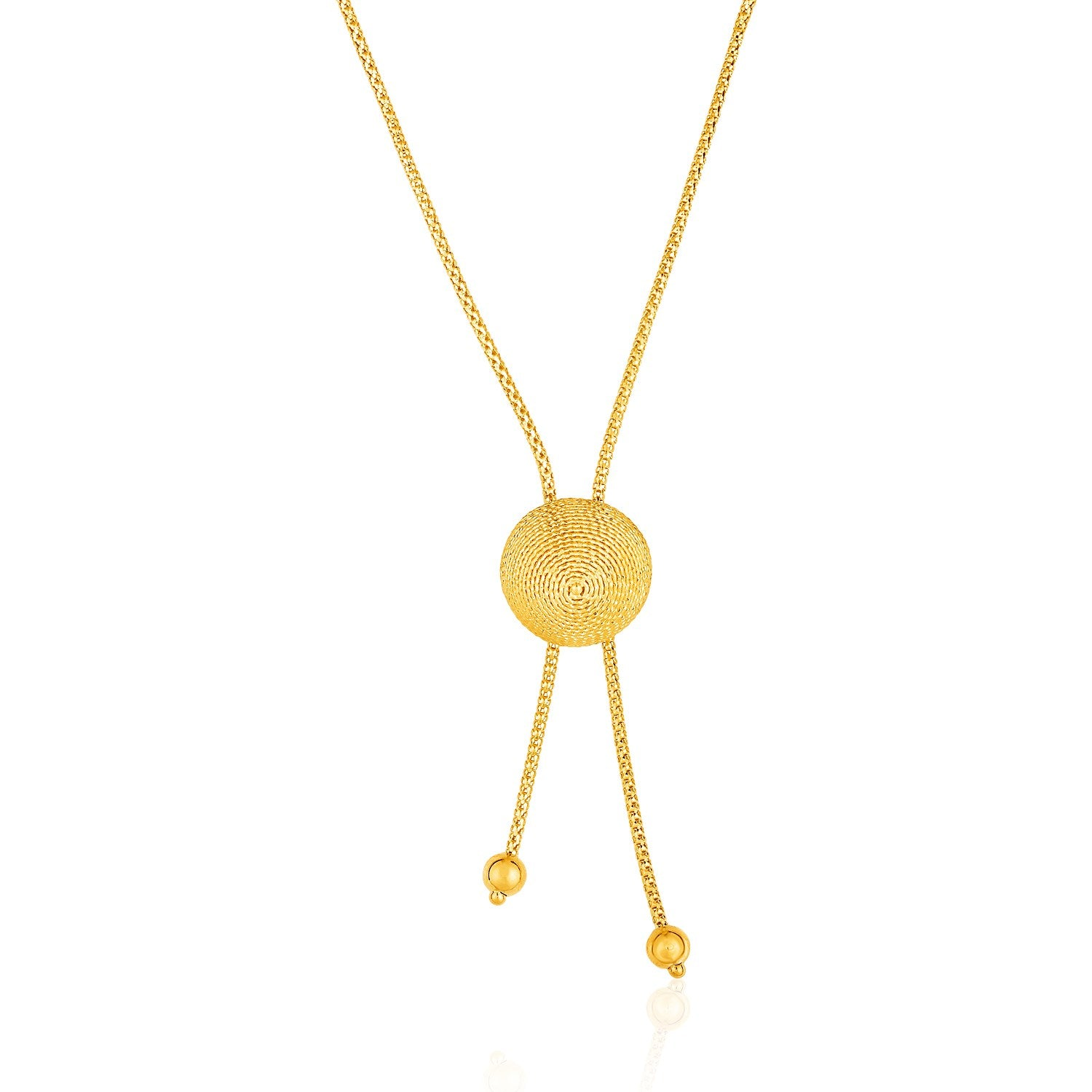 14K Yellow Gold Adjustable Lariat Necklace with Textured Round Dome