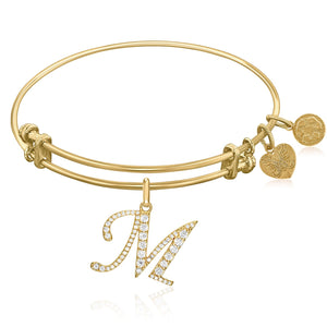 Expandable Yellow Tone Brass Bangle with M Symbol with Cubic Zirconia