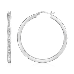 Unique Modern Paris Style Glitter Textured Square Tube Hoop Earrings in Sterling Silver