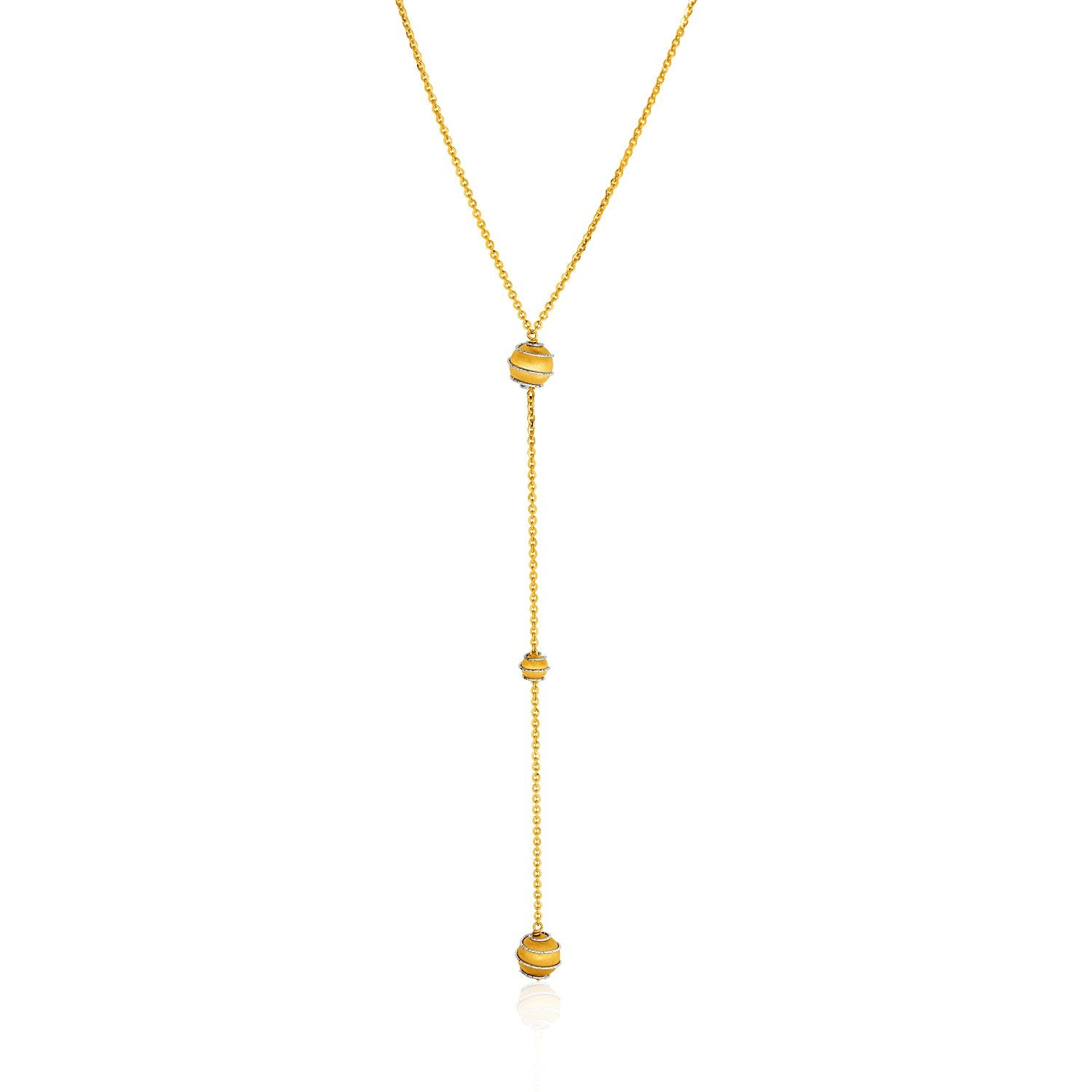 14K Two-Tone Yellow and White Chain and Ball Lariat Necklace