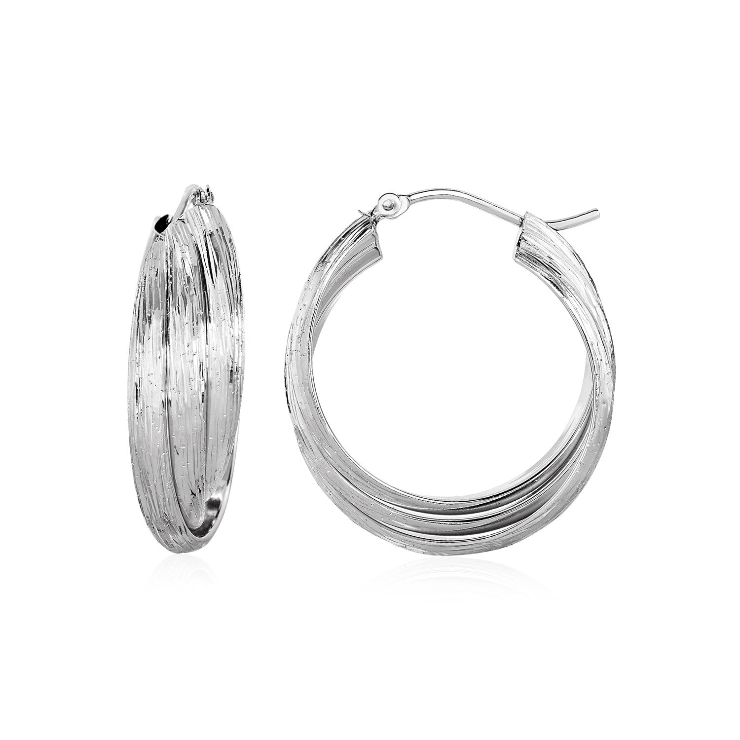 Three-Part Textured Hoop Earrings in Sterling Silver