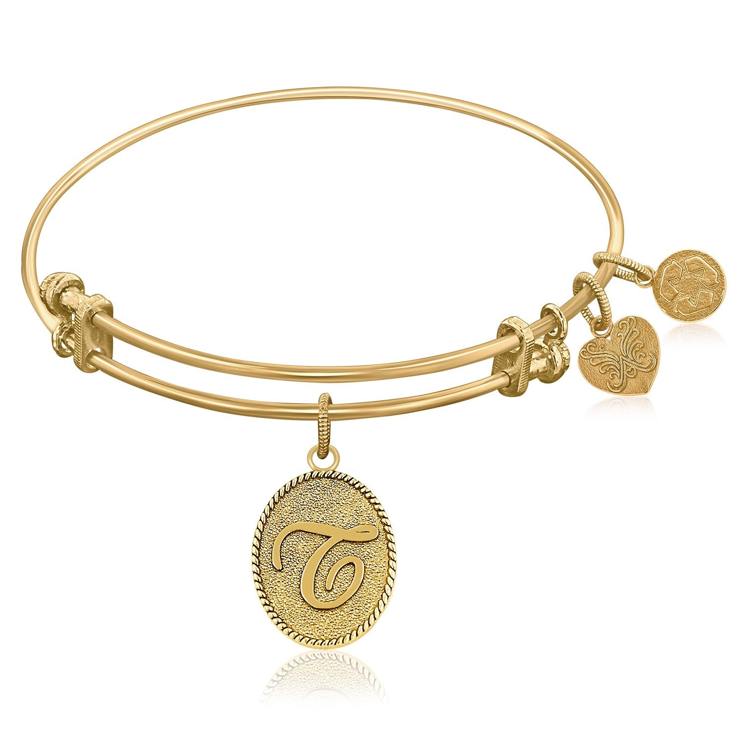 Expandable Bangle in Yellow Tone Brass with Initial T Symbol
