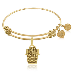 Expandable Bangle in Yellow Tone Brass with Toto In A Basket Symbol