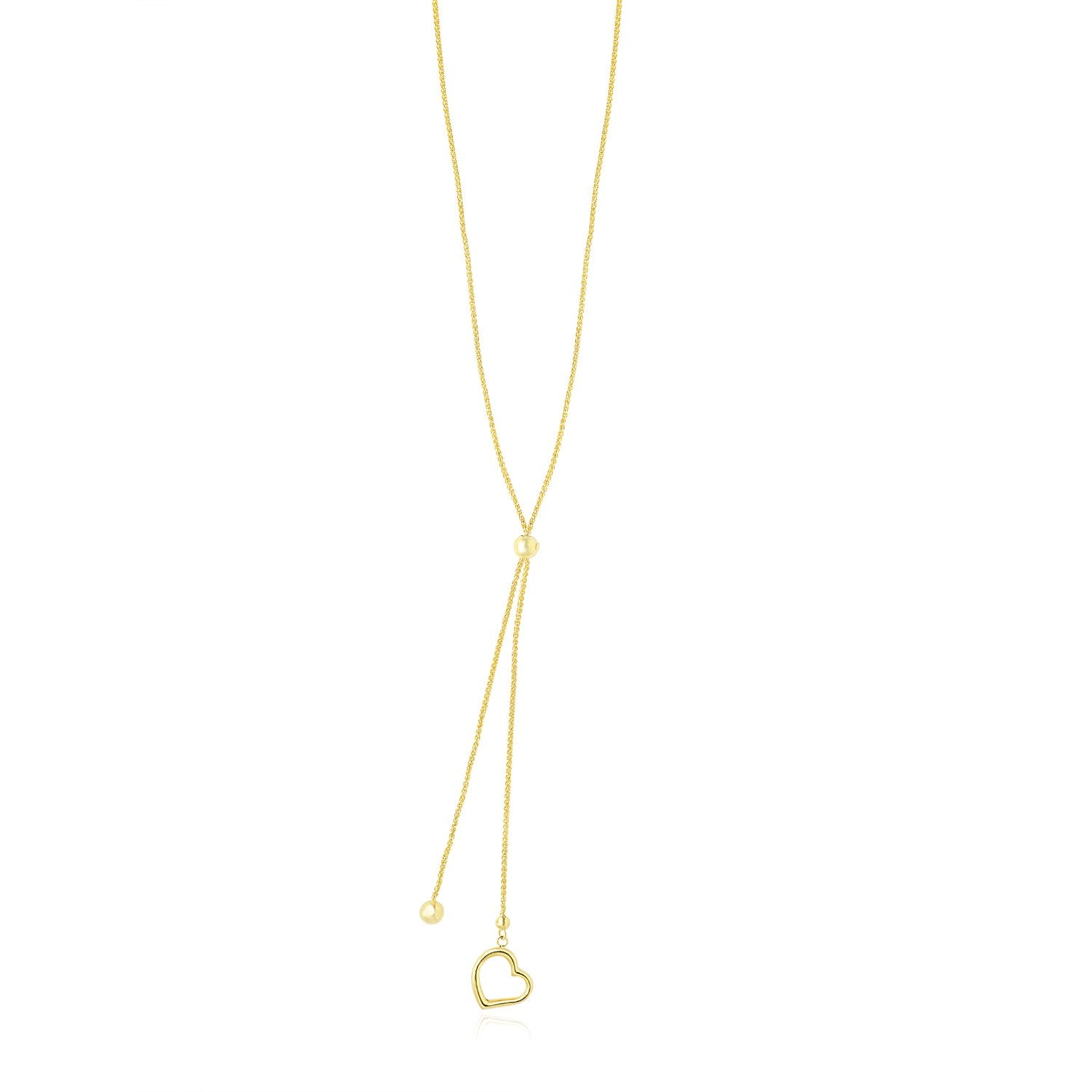 14K Yellow Gold Cut-out Heart Adjustable Lariat Style Necklace