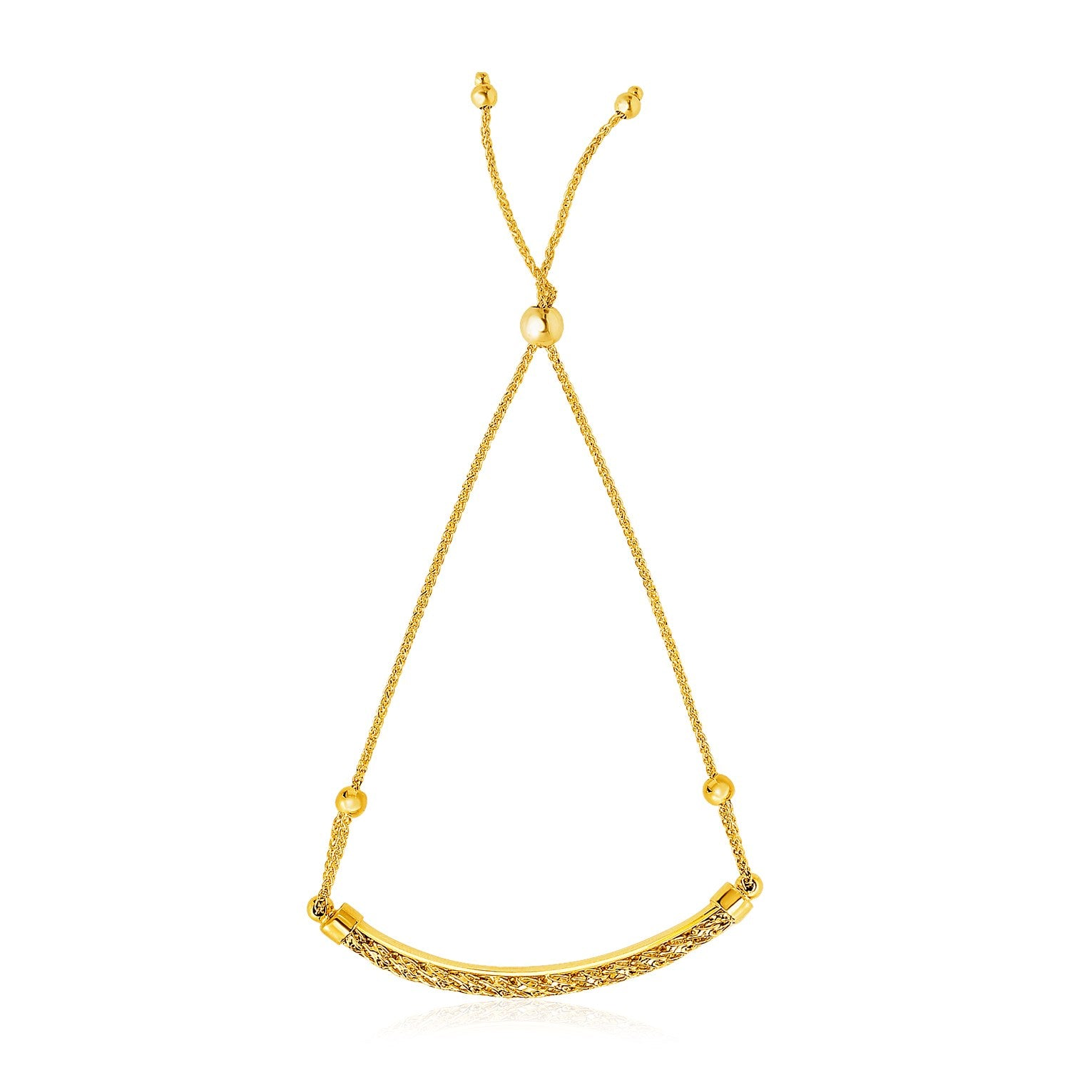 14K Yellow Gold Chain Bar and Bead Station Lariat Bracelet