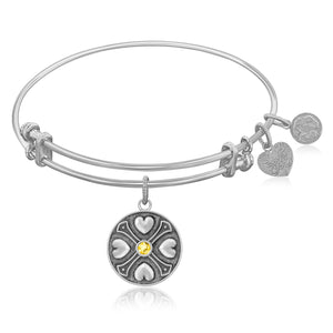 Expandable Bangle in White Tone Brass with Yellow Topaz November Symbol