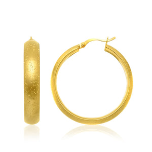 Unique Modern Paris Style Sterling Silver Yellow Plated Stardust Round Shape Hoop Earrings